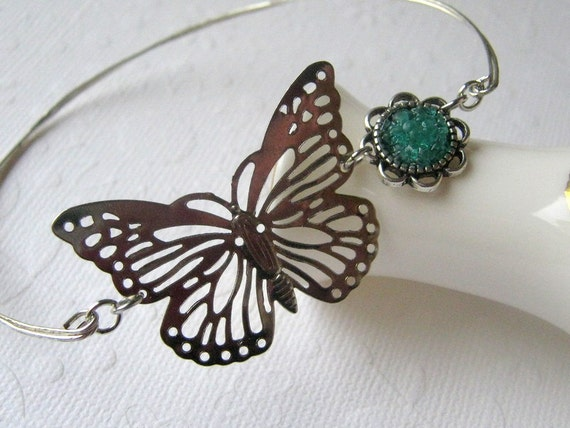 Butterfly Bracelet Butterfly Bangle Silver Filigree Blue Butterfly Stacking Bangle Stained Glass Metamorphosis Transitional Jewelry