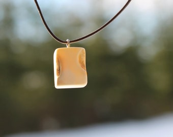 Baltic Amber Pendant Cubical Milky Butterscotch Leather Geometric Charm Necklace Jewelry Yellow Men For Him Minimalist Birthday Gift fro Man