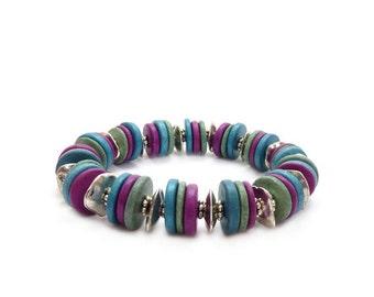 Greek Mykonos Stacking Bracelet - Purple - Mint Green - Aqua Blue Ceramic Beads - Colorful Bohemian Layering Bracelet