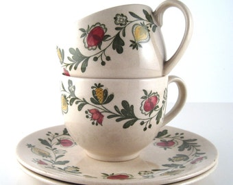 Johnson Bros teacups and dishes - Johnson Bros Gretchen - vintage staffordshire old granite - bread butter plates -  floral china