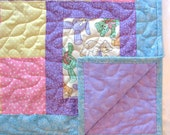 Baby Girl Quilt Handmade Pink Purple Patchwork Toddler Baby Quilt Blanket