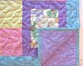 Baby Girl Quilt Handmade Pink Purple Patchwork Toddler Baby Quilt Blanket