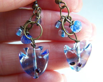 Blue Clear Fish Lampwork Glass Drop Earrings Doodaba