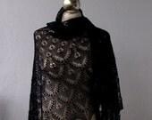 Black beaded  hand knitted lace shawl with nupps ,black cobweb shawl