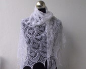 White beaded  hand knitted lace shawl with nupps ,Queen Silvia cobweb shawl, bridal shawl, SPRING SALE 15% OFF