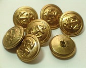 Anchor Buttons Vintage Brass Gold Colored Metal Buttons Set 7 Metal Loop Shank 19mm