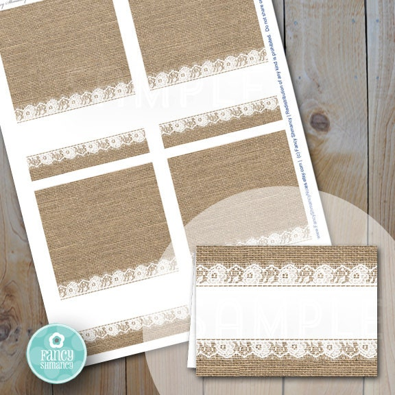 printable diy buffet table place cards burlap and lace