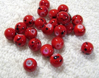 Crimson Glass Beads - Speckled Beads - (24 Pcs) - (8mm) - B-1516