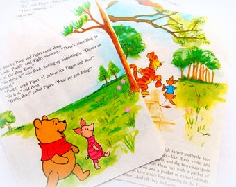 Vintage Children's Book Pages  / Winnie The Pooh / Old Book Pages