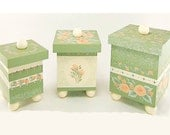 ON SALE Hand-Painted Canister Set of 3 - Peach Roses, Sage G