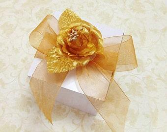 Wedding Favor Gift Box Kit with Satin Rose and Ribbon, Choice of Colors, 10 Kits - 4 inch Square Premium Box Paper Goods Gift Box Kit Set