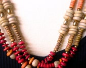 Triple Strand Wood Bead Necklace, Multi Colors, Vintage 1970's