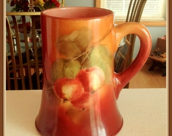 Antique American Belleek Mug, Porcelain, CAC, Hand Painted Apples, 1889 to 1906
