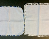 Two Vintage 1940's White Cotton Hankies with White and Blue Crocheted Lace Trim