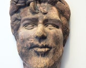 Ceramic Wall Mask Face Sculpture Portrait of a Man, Soda Fired Crackle Texture Head