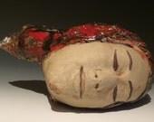 Dreamer Vase, Ceramic Head Sculpture Sleep, Portrait Face Vessel, Surreal Art Pottery