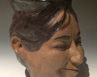 Face vase portrait head planter sculpture bust, ceramic vessel, ikebana pot smile