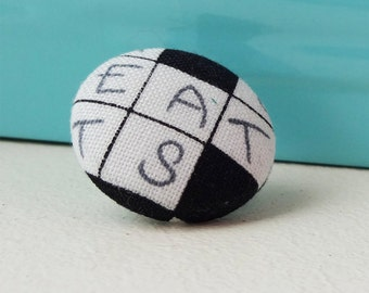 Crossword pin, geeky accessory, puzzle fabric, black & white, choice of tie tack or brooch finding
