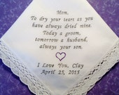 MOTHER of the GROOM Wedding Lace Handkerchief Personalized Wedding Hankerchief Gift Embroidered Wedding Hankerchief