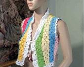 Blowout Sale - ARTSY VEST/BOLERO - Wearable Fiber Art.  Chic & Funky, Eco Friendly Organic, Top Quality Mercerized Cotton