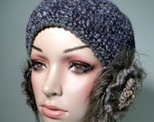 HELMET/SKULLCAP/HAT- 1920's Retro Style, Ear Warmers, Brooch Embellishments, Unsurpassed Quality Yarn