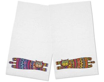 Cute Set of 2 Colorful Cats Kitchen Tea Towels