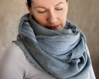 Aqua blue scarf felted cowl women neck warmer grey merino wool hood winter scarf cotton infinity cowl chunky scarf handmade to order