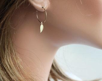 Gold Leaf Earrings - Simple Earrings - Leaf Earrings - Everyday Earrings - Hoop Earrings