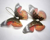 "Beautiful large butterflies earrings ""Caresse de papillon"" / monarch butterflies - 2121"