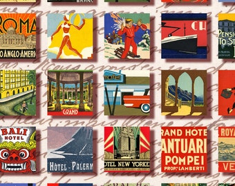 vintage Luggage Labels 1x1 inch square Instant Download travel hotel label digital collage sheet inchies n031