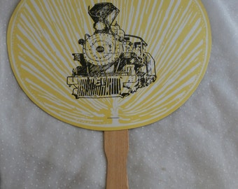 Texas State Railroad Souvenir Cardboard Fan, Paddle Fan with Train