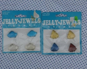 Sailboats and Clouds, Jelly Jewels Shapes Craft Supplies, Plastic Flat Back Embellishments