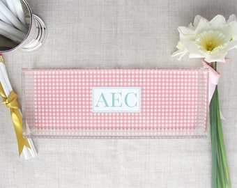 Monogram Lucite Tray | Gingham Check Pattern | Personalized Colors | Custom Colors | Acrylic Desktop Organizer