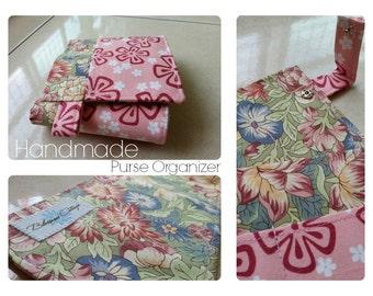 24 inch / 7 pockets Purse / Bag Organizer Insert - (medium) Floral print fabric