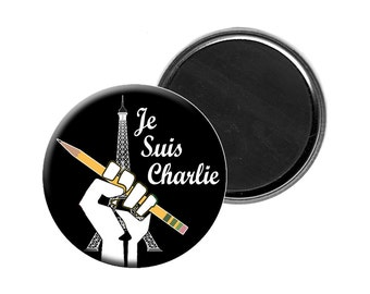 """Je Suis Charlie Magnet - I Am Charlie Hebdo Large 2.25"""" Flat Backed Fridge Magnet - Solidarity with French Magazine Terrorist Attack Victims"""