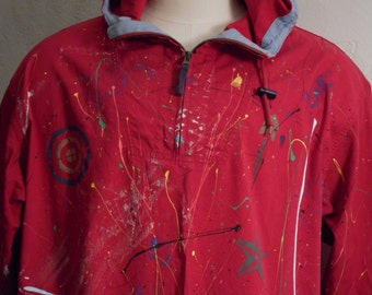 Hand Paint Splattered Red Barn Jacket Hooded Parka Sz M Eddie Bauer Coachella Fest
