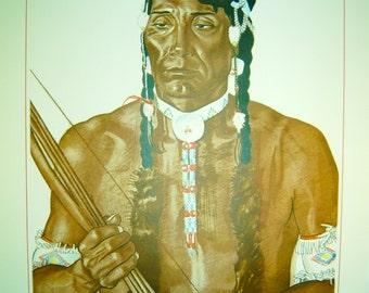 "Vintage Blackfoot Indians of Glacier National Park Print by Artist Winold Reiss - ""Yellow Head"""