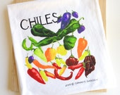 Tea Towel of Watercolor Chiles, Deluxe colorful dish towel, functional art