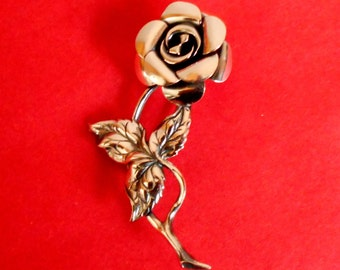 Sterling Silver Rose Brooch Signed BEAU