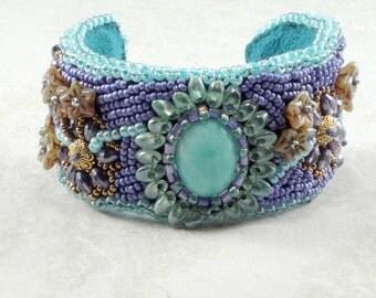 Bead Embroidered Cuff Bracelet, Gemstone Cuff Bracelet, Beaded Cuff Bracelet, Floral Mint Green and Purple