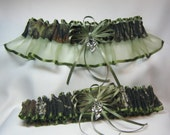MOSSY OAK Camouflage wedding garters deer Camo garter Moss satin edge