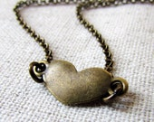 Heart Necklace, Little Brass Heart, Antiqued Brass, Valentine Day Necklace, Valentines Gift, Brass Chain Necklace, Simple Heart, Small Heart