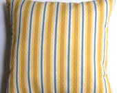 "Designer yellow, blue and white striped decorative 18"" x 18"" pillow covers - toss pillows - throw pillows"