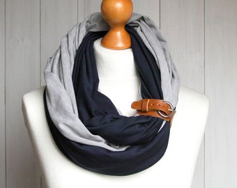 FASHION infinity scarf with leather cuff, fashion scarf, scarf with cuff