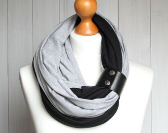 Infinity scarf with leather cuff, infinity scarves ZOJANKA, tube scarf cotton , jersey scarf with leather strap
