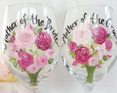 "Mother of the Bride & Groom ""PERSONALIZED"" Flower Bouquet Glasses - Hand Painted Wine Glasses - Bridal Party Wine Glasses - FREE GIFT Wrap"