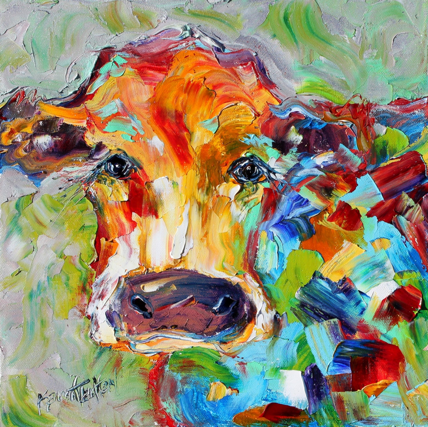 Abstract cow 24 x 24 giclee print on canvas made for Cow painting print