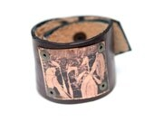 Reclaimed Black Leather & Copper Cuff with 2 Women
