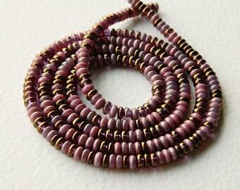 Lilac & Bronze Czech glass donut bead mix, Rondelle glass bead mix, 4mm, Lilac glass bead mix (100pcs) NEW