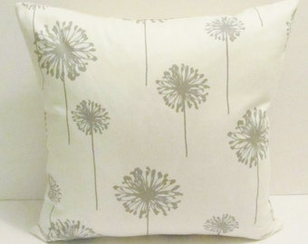 Gray dandelion pillow cover, accent pillow, throw pillow. 18 x 18 inch,  FREE SHIPPING Canada and US